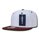 Custom Two-Tone Classic Snapback Flat Bill Hat (Embroidered with Logo) - White/Cardinal - Decky 351
