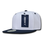 Custom Two-Tone Classic Snapback Flat Bill Hat (Embroidered with Logo) - White/Navy - Decky 351