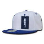 Custom Two-Tone Classic Snapback Flat Bill Hat (Embroidered with Logo) - White/Royal - Decky 351