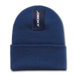 Custom Acrylic Long Knit Beanies (with cuff) (Embroidered with Logo) - Navy - Decky 613