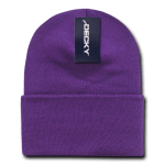 Custom Acrylic Long Knit Beanies (with cuff) (Embroidered with Logo) - Purple - Decky 613