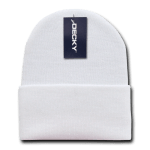 Custom Acrylic Long Knit Beanies (with cuff) (Embroidered with Logo) - White - Decky 613