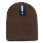 Custom Acrylic Short Knit Beanies (no cuff) (Embroidered with Logo) - Brown - Decky 614