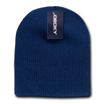 Custom Acrylic Short Knit Beanies (no cuff) (Embroidered with Logo) - Navy - Decky 614