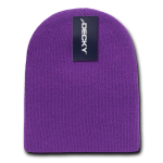 Custom Acrylic Short Knit Beanies (no cuff) (Embroidered with Logo) - Purple - Decky 614