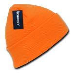 Custom Neon Acrylic Long Beanies (with cuff) (Embroidered with Logo) - Neon Orange - Decky 813