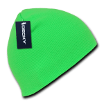 Custom Neon Acrylic Short Beanies (no cuff) (Embroidered with Logo) - Neon Green - Decky 814
