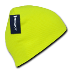 Custom Neon Acrylic Short Beanies (no cuff) (Embroidered with Logo) - Neon Yellow - Decky 814
