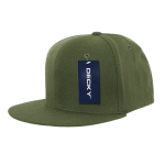 Custom Snapback Flat Bill Flex Hat (Embroidered with Logo) - Olive - Decky 873