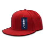 Custom Snapback Flat Bill Flex Hat (Embroidered with Logo) - Red - Decky 873