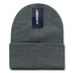 Custom Long Beanies (with cuff) (Embroidered with Logo) - Heather Charcoal - Decky KC