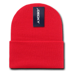 Custom Long Beanies (with cuff) (Embroidered with Logo) - Red - Decky KC