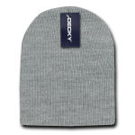 Custom Short Beanies (no cuff) (Embroidered with Logo) - Heather Grey - Decky KCS