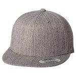 Custom Yupoong Classic Snapback Flat Bill Hat (Embroidered with Logo) - Heather Grey - Yupoong 6089M