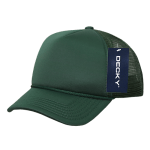 Custom Youth Trucker Mesh Baseball Hat (Embroidered with Logo) - Dark Green - Decky 7010