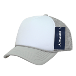Custom Youth Trucker Mesh Baseball Hat (Embroidered with Logo) - Grey/White - Decky 7010