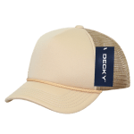 Custom Youth Trucker Mesh Baseball Hat (Embroidered with Logo) - Khaki - Decky 7010