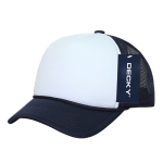 Custom Youth Trucker Mesh Baseball Hat (Embroidered with Logo) - Navy/White - Decky 7010