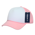 Custom Youth Trucker Mesh Baseball Hat (Embroidered with Logo) - Pink/White - Decky 7010
