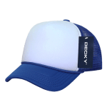 Custom Youth Trucker Mesh Baseball Hat (Embroidered with Logo) - Royal/White - Decky 7010