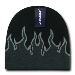 Custom Kids' Fire Knit Beanies (Embroidered with Logo) - Black/Charcoal/Grey - Decky 9055