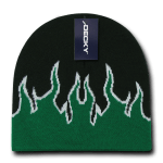 Custom Kids' Fire Knit Beanies (Embroidered with Logo) - Black/Kelly/White - Decky 9055