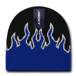 Custom Kids' Fire Knit Beanies (Embroidered with Logo) - Black/Royal/White - Decky 9055