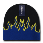 Custom Kids' Fire Knit Beanies (Embroidered with Logo) - Black/Royal/Yellow - Decky 9055