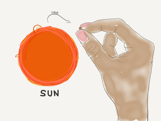 Hand holding sun the size of a grain of sand