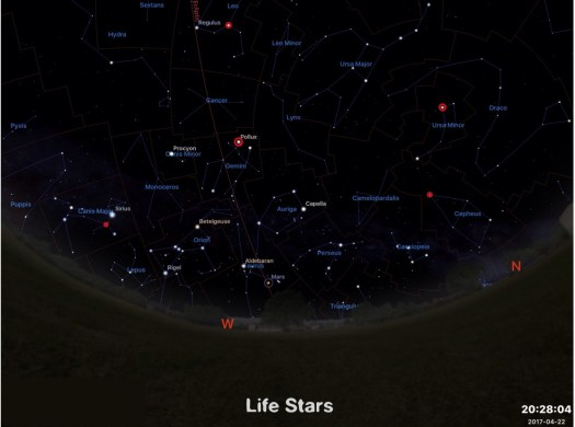 The 5 brightest Life Stars - Pollux, Kochab, Algeiba, Errai, 7 CanisMajor
