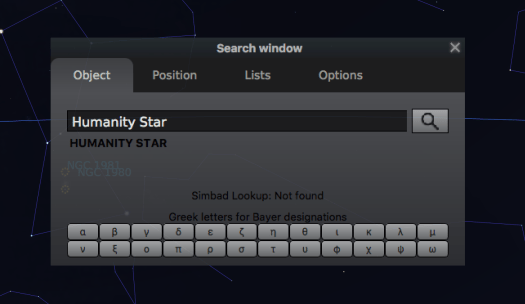 Stellarium search panel showing the Humanity Star as a findable object
