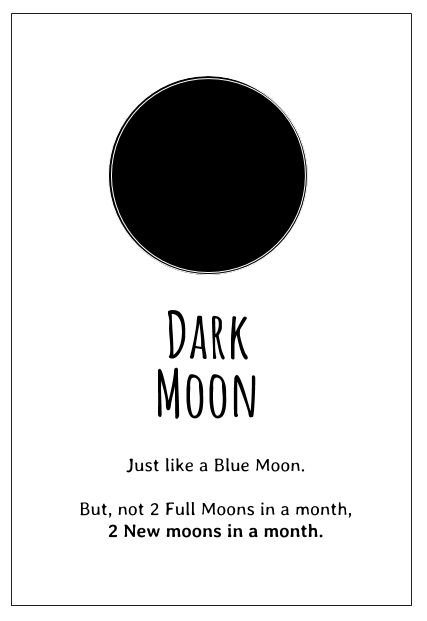 The Dark Moon is the name for the second New Moon in a month - it's like a Blue Moon