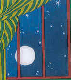 Image of the Full Moon as seen through the window of the Great Green Room of the book Goodnight Moon