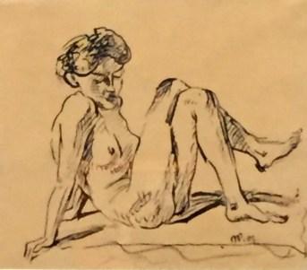 Max Pechstein - Sitzender, sich auf die Arme stützender weiblicher Akt, 1907, Tusche, Brücke-Museum Berlin©starkandart.com