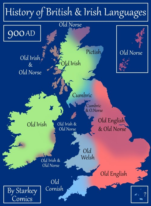 Map Of England And Ireland With Towns.A Brief History Of British And Irish Languages Starkey Comics