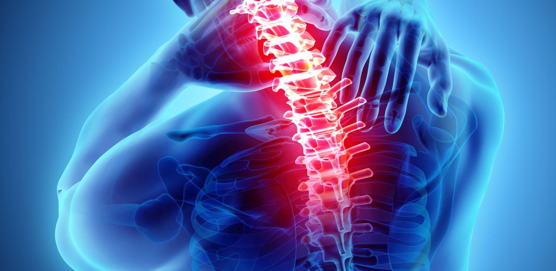 3D illustration, neck painful - cervical spine skeleton x-ray, medical concept.