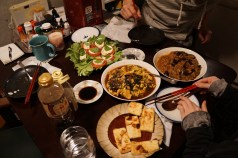 Dinner at Ananda and Take's place. Takeya cooked several Chinese dishes, and I made a caprese salad. A truly international meal.
