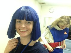Goofing around in the dressing room at NHK. I stole Ananda's wig!