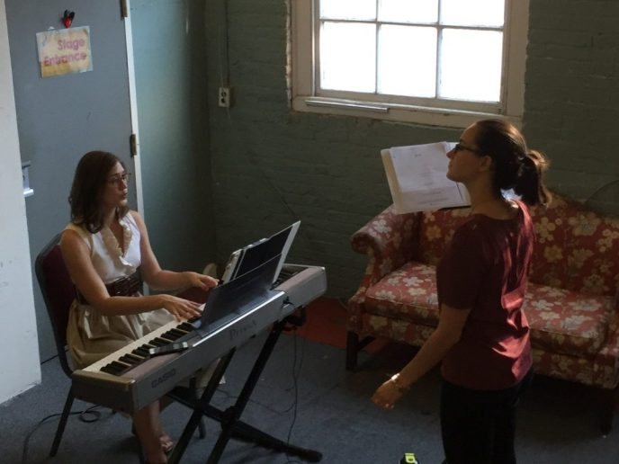 Student taking voice lessons in Philadelphia