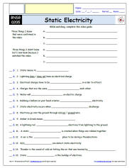 Free Differentiated Worksheet For The Bill Nye  The Science Guy *  Static Electricity