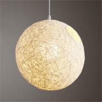 UK Rattan Wicker Ball Ceiling Light Pendant Round Lamp ...