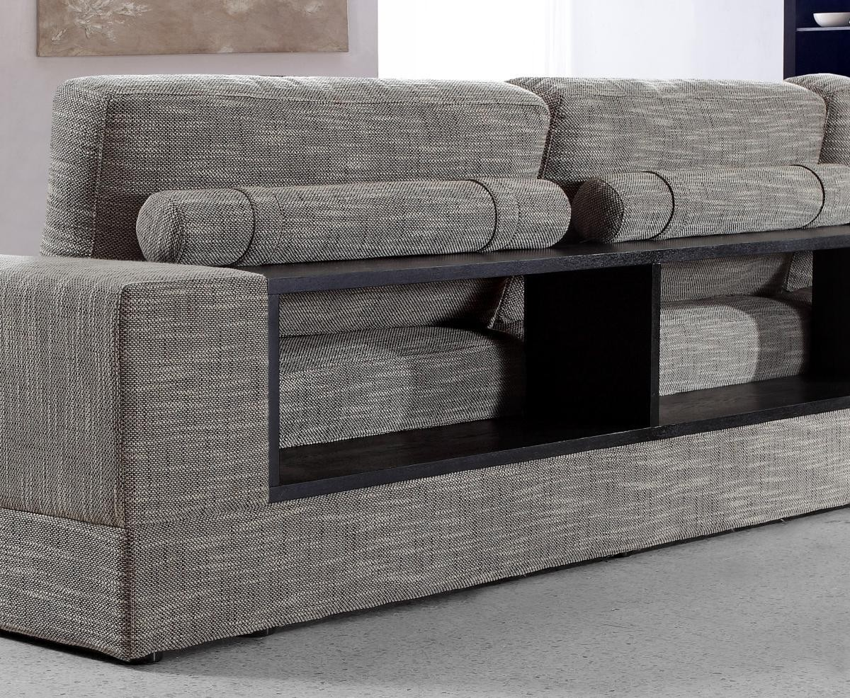 Anthem GreyBrown Fabric Modern Sectional With Wood Shelves Star Modern Furniture