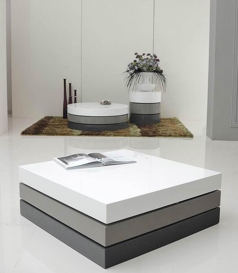 T2 Lacquer 3 Tone Modern Square Coffee Table Coffee