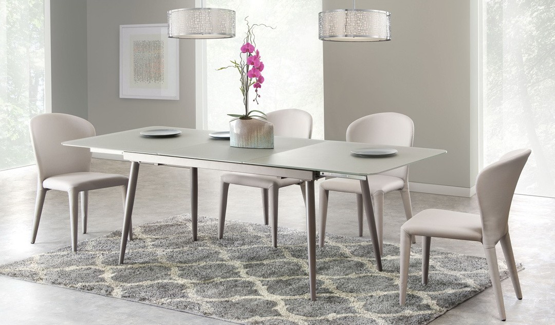 Modern Glass Dining Table With Extension W4 Side Chairs Modern Dining Dining Room Star