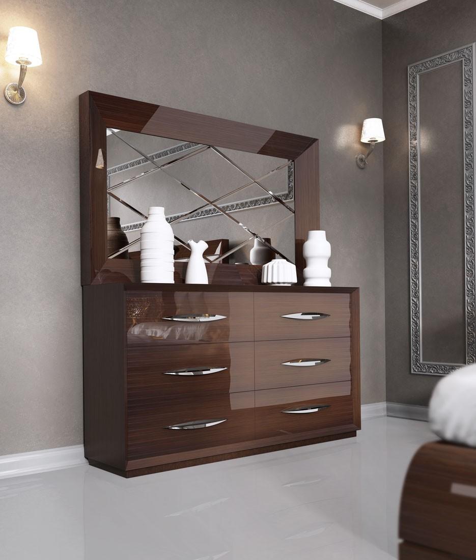 Carmen Walnut Modern Italian Bedroom set  N Star Modern