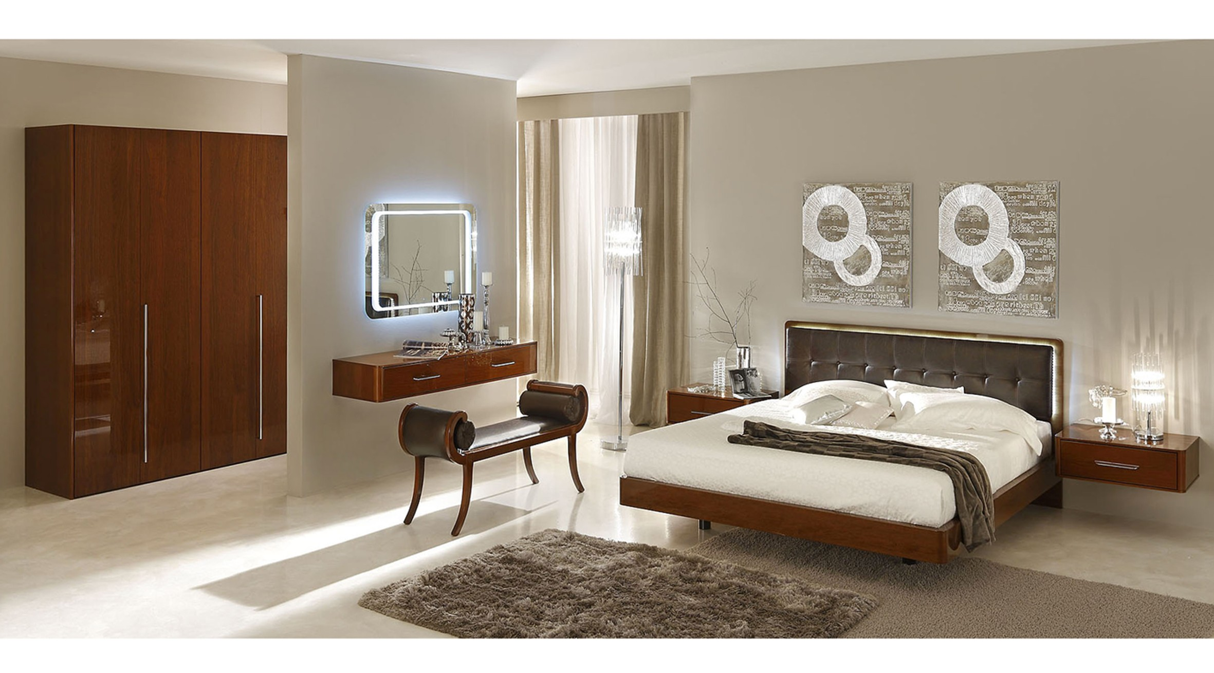 sky modern italian bedroom set  star modern furniture