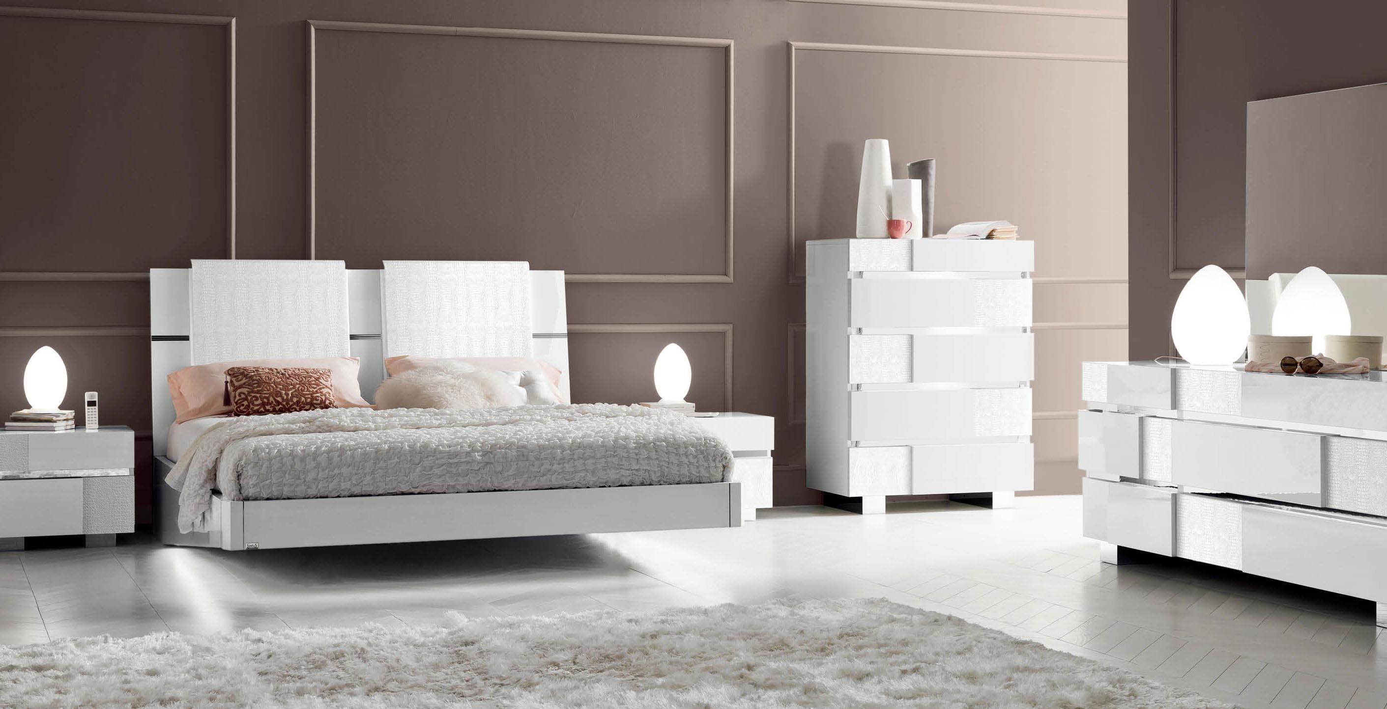 Caprice White Modern Italian Bedroom set N Star Modern