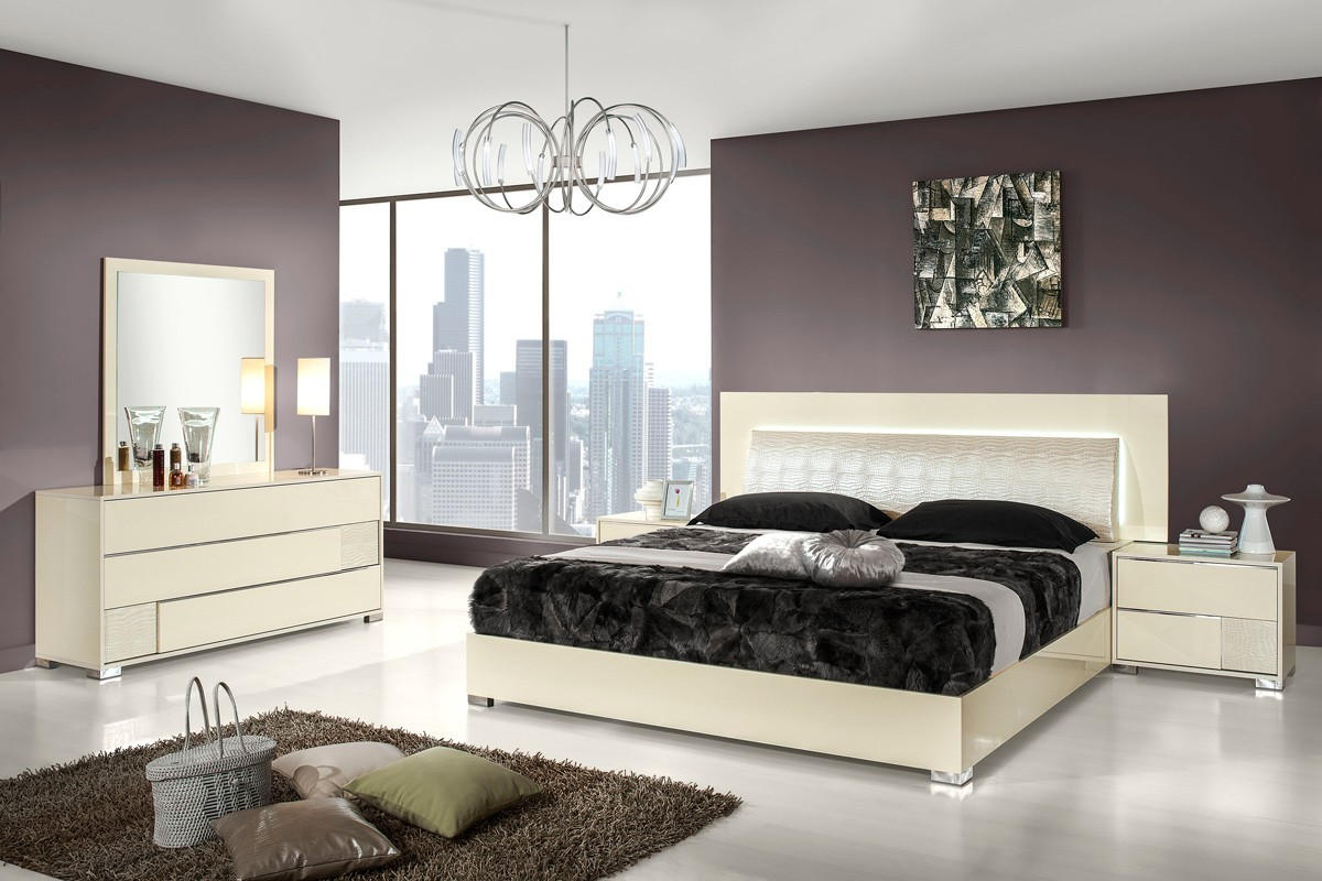 Modrest Grace Italian Modern Beige Bedroom Set Star Modern