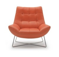 A728 - Modern Orange Leather Lounge Chair - GE - Accent ...