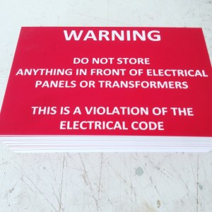 Warning sign, Plastic lamacoid